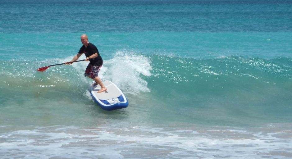 Tez Plavenieks stand up paddle surfing Grenada, Grand Anse beach
