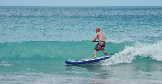 Tez Plavenieks SUP surfing Grand anse Beach, Grenada, West Indies, Caribbean