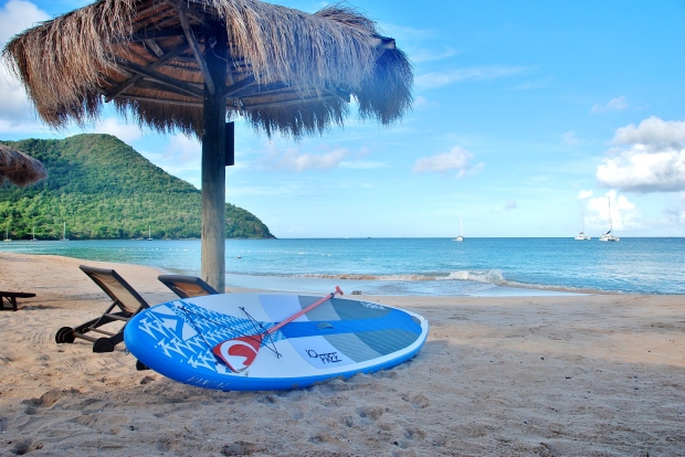 SUP locked and loaded, rodney Bay, St Lucia, Caribbean