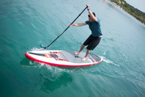 John Hibbard paddling teh Red Elite 12.6ft