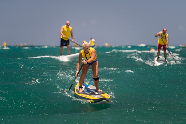 Jo Hamilton Vale SUP racing in Maui