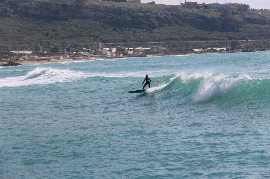 Lebanon surfing SUP style